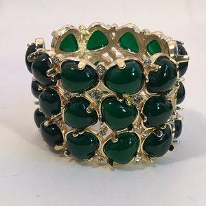 W-I-D-E, KJL Emerald-green Glass Cabochon Cuff